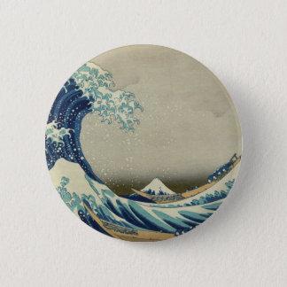 Katsushika Hokusai著神奈川の波 5.7cm 丸型バッジ