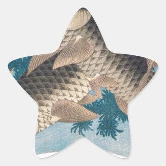 Katsushika Hokusai著2匹のコイ 星シール