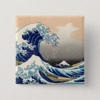 KATSUSHIKA HOKUSAI -神奈川を離れた素晴らしい波 5.1CM 正方形バッジ