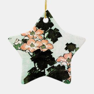 Katsushika Hokusai (葛飾北斎) -ハイビスカスおよびすずめ セラミックオーナメント