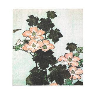 Katsushika Hokusai (葛飾北斎) -ハイビスカスおよびすずめ ノートパッド