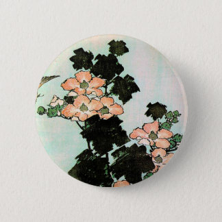 Katsushika Hokusai (葛飾北斎) -ハイビスカスおよびすずめ 缶バッジ