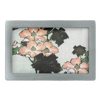 Katsushika Hokusai (葛飾北斎) -ハイビスカスおよびすずめ 長方形ベルトバックル