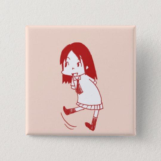kawaii girl 5.1cm 正方形バッジ