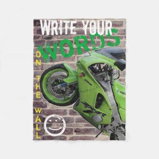 Kawasaki Green Motorcycle Graffiti Wall Blanket フリースブランケット