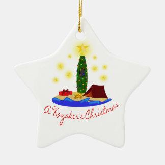Kayakerのクリスマスの星 セラミックオーナメント