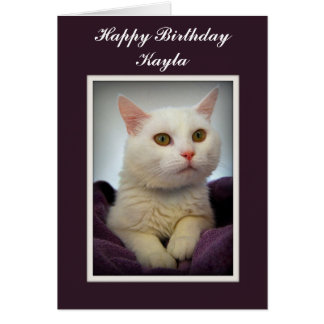 Kaylaのハッピーバースデー白い猫カード カード
