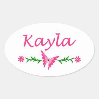 Kayla (ピンクの蝶) 楕円形シール