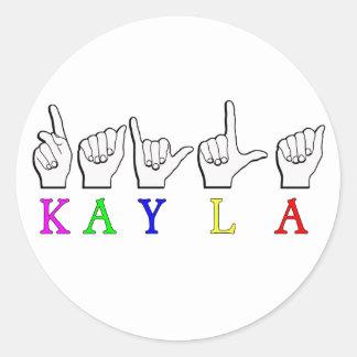 KAYLA ASL FINGERSPELLED ラウンドシール