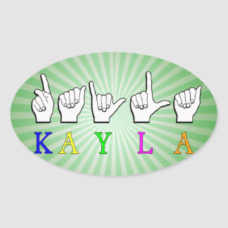 KAYLA FINGERSPELLEDの一流の印ASL 楕円形シール