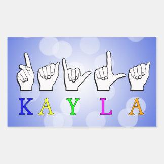 KAYLA FINGERSPELLEDの一流の印ASL 長方形シール