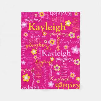 Kayleigh pink yellow girls name flower blanket フリースブランケット