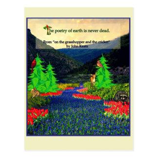 Keatsの引用文の自然場面郵便はがき ポストカード