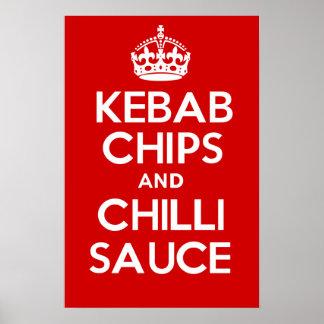 KEBABの破片および唐辛子ソース ポスター