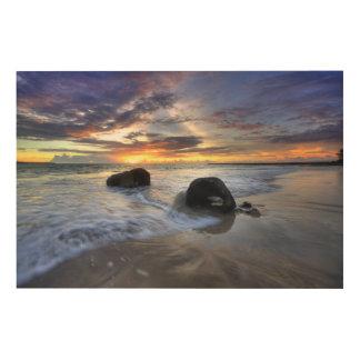 Kedongananのビーチの日没 ウッドウォールアート