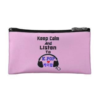 ♪♥Keepの平静はKPopすてきな革Wallet♥に聞き、 コスメティックバッグ
