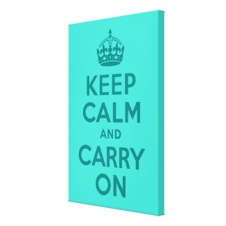 Keep Calm and Carry Onのターコイズのキャンバスプリント キャンバスプリント