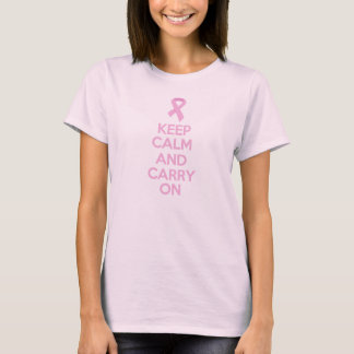 Keep Calm and Carry Onのピンクのリボンの乳癌 Tシャツ