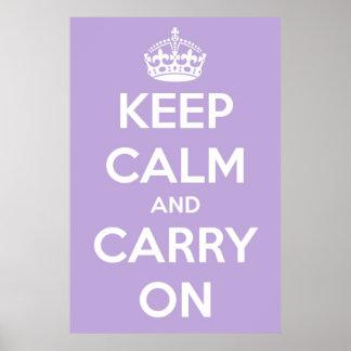 Keep Calm and Carry Onのラベンダーポスター ポスター