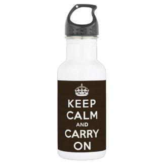 Keep Calm and Carry Onの暗いチョコレート、クリーム色の文字 ウォーターボトル