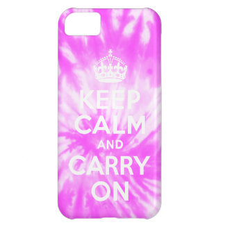 Keep Calm and Carry Onの絞り染めのピンクのiPhone 5の場合 iPhone5Cケース