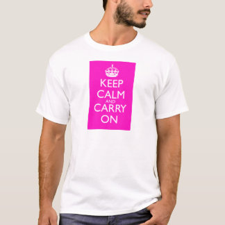 Keep Calm and Carry Onの鮮やかなピンク Tシャツ