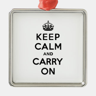 Keep Calm and Carry Onの黒い文字 メタルオーナメント