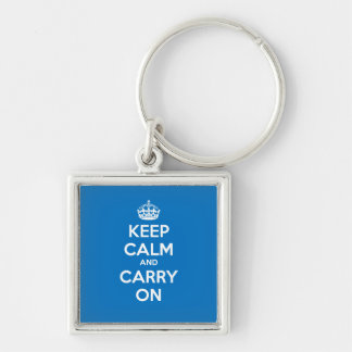 Keep Calm and Carry On正方形のKeychain -青 キーホルダー