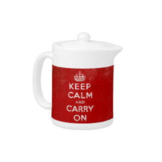 Keep Calm and Carry On、ヴィンテージの赤くか白いティーポット