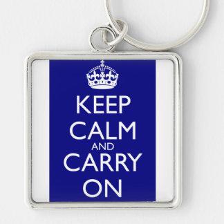 Keep Calm and Carry On: 濃紺 キーホルダー
