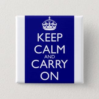 Keep Calm and Carry On: 濃紺 5.1cm 正方形バッジ