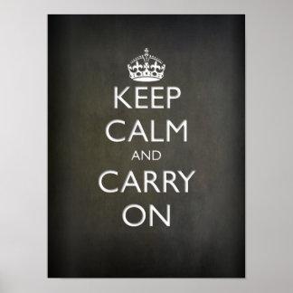 Keep Calm and Carry On (黒い石) ポスター
