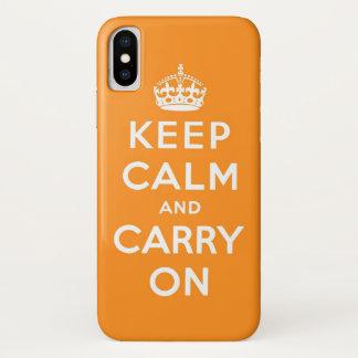 keep calm and carry on Orange iPhone X ケース