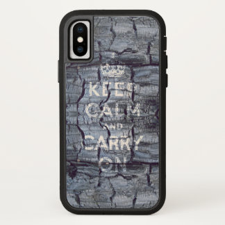 keep calm and carry on wooden grungy iPhone x ケース
