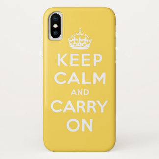 keep calm and carry on yellow iPhone x ケース