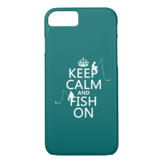 Keep Calm and Fish On - customizable colours iPhone 8/7ケース