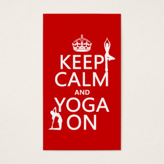 Keep Calm and Yoga On (customize colors) 名刺