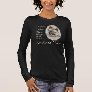 Keeshondのお母さんのワイシャツ 長袖Tシャツ