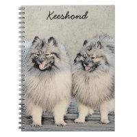 Keeshondの兄弟2の絵画-元の犬の芸術