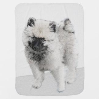 Keeshondの子犬のスケッチ-かわいい元の犬の芸術 ベビー ブランケット