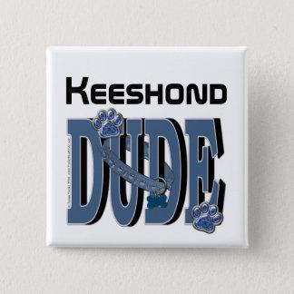 Keeshondの男 5.1cm 正方形バッジ