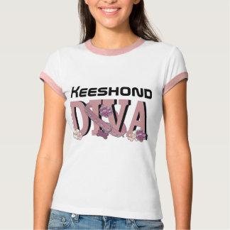 Keeshondの花型女性歌手 Tシャツ
