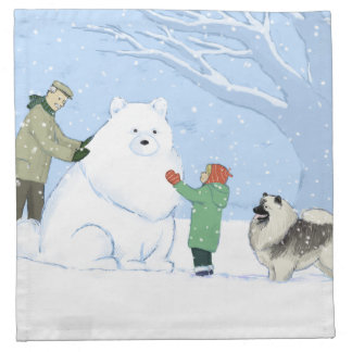 Keeshondの雪犬 ナプキンクロス