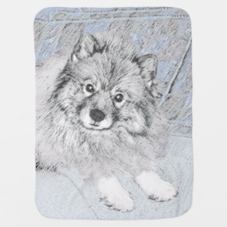 KeeshondのBethの絵画-かわいい元の犬の芸術 ベビー ブランケット