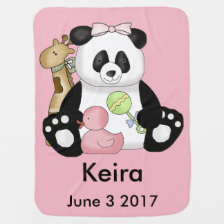 Keiraの名前入りなパンダ ベビー ブランケット