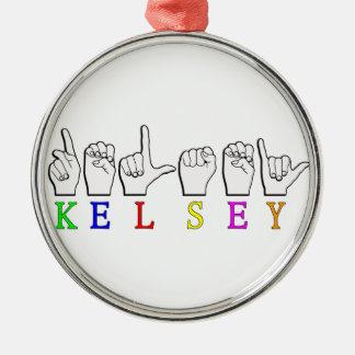 KELSEY ASL FINGERSPELLED メタルオーナメント