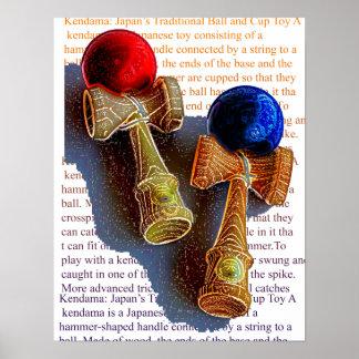 Kendama、赤くおよび青の色インクスケッチ ポスター