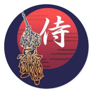 Kendo samurai 丸形シールステッカー