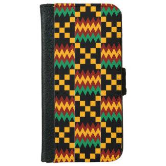 Kenteの黄色、緑、赤く、黒い布 iPhone 6/6s ウォレットケース