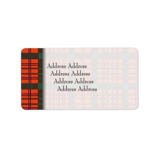 Keppochの一族の格子縞のスコットランド人のタータンチェックのMacdonell ラベル